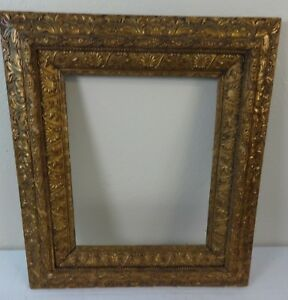 Antique Large Wooden Gold Painted Ornate Picture Frame