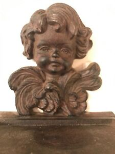 Antique French Cast Iron Vintage Cherub Angel Wall Sconce Shelf Shabby Chic