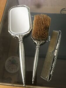 Vintage Webster Co Sterling Silver Grooming Vanity Set Hand Mirror Brush Comb