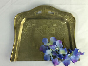 Arts Crafts Brass Tray Table Butler Vintage Desk Accessory 1910s Unique Cross