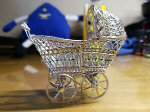 Antique Miniature Metal Baby Carriage Buggy Stroller German Dollhouse 1930 S