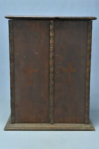 Antique Decorative Small Double Door Table Top Oak Cabinet Cupboard Old 06268