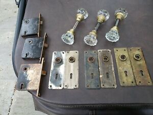 Lot 6 No Chips Vtg 12 Point Crystal Cut Glass Brass Door Knobs W Rod