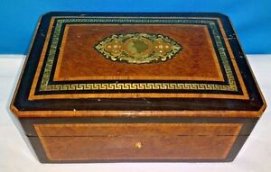 Antique European Inlay Wooden Handmade Jewelry Box With Lock Key