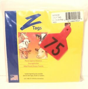 Z Tags Calf Ear Tags Red Numbered 51 75 Cow Cattle