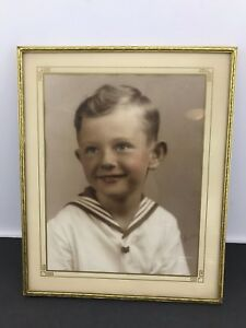 Vintage Mid Century Brass Metal Picture Frame Photo Young Handsome Boy Sailor