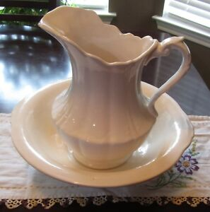 Vintage Large Milk White Water Pitcher Wash Basin Pitcher Basin Very Pretty