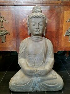 Large Chinese Carved Stone Seated Buddha Statue 24 1 4 Height