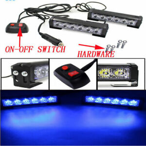 Dash Grill 2x6 Led Blue Strobe Light Bar Car Emergency Hazard Warning Flashing