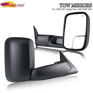 For 1998 2001 Dodge Ram Power Heat Towing Mirrors 98 02 Ram 2500 3500 Set Pair