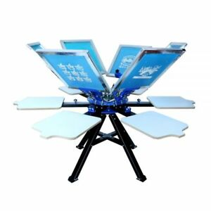 6 Color 6 Station Screen Printing Machine Double Rotary T shirt Print Equipment