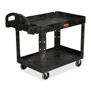 Medium Utility Cart Lipped Shelf Rubbermaid Commercial Tool Transporting Storage