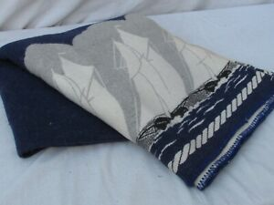 Antique Wool Blanket Nautical Theme Yachts Sailboats Blue And White 1930 1940
