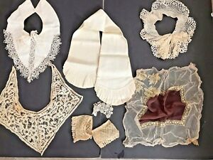 Antique Vintage Lace Lot Collars Cuffs Hankies Trim Estate Pieces Eyelet Netting