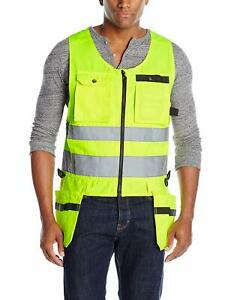 Jobman Workwear Men s High Visibility Tradesman Vest Yellow size Xl Or Xxl Nwt