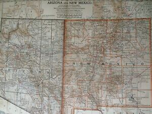 1903 Arizona New Mexico Original Antique Map United States State Map Vintage