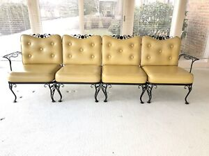 Vintage Chantilly Rose Woodard Patio 4 Pc Sectional Sofa Wrought Iron 50s 60s