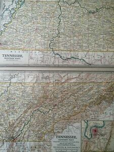1903 Tennessee Original Antique Map United States State Map Vintage