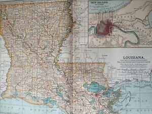 1903 Louisiana Original Antique Map United States State Map Vintage New Orleans