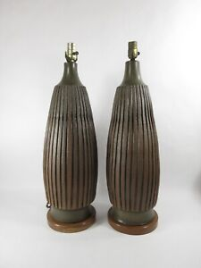 Robert Maxwell Pair Of Studio Art Pottery Lamps Monumental Mid