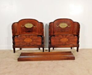 Antique Pair Flame Walnut Fancy French Carved Curved Paint Decorated Twin Beds