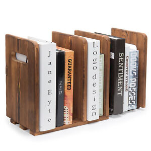 Mygift Brown Wood Adjustable 3 slot Desktop Bookshelf Organizer