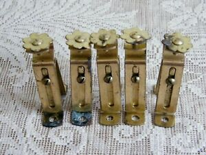 Vintage Adjustable Metal Curtain Rod Holders Bracket Gold Tone W Flower