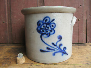 Antique 1865 Small 1 Gallon Blue Flower Decorated Salt Glazed Stoneware Crock