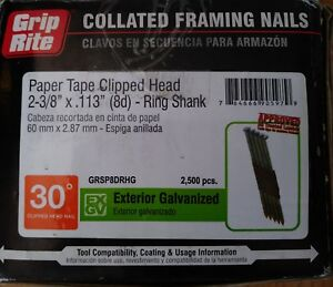 Grip rite Paper Tape Clipped Head 2 3 8 113 8d Ring Shank Framing Nails 30