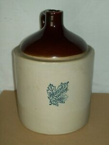 Antique 1 Gallon Western Stoneware Crock Jug Stoneware Whiskey Jug