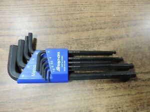 Snap On Tools 9 Pc L Shaped Metric Ball Hex Wrench Set Bhm9a