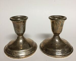Vintage Towle Sterling Silver Weighted Pair Of Candle Holder Sticks