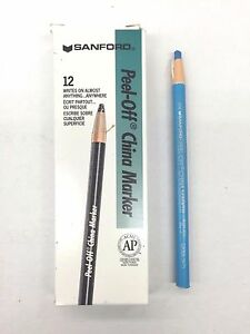 10 Boxes 120 sanford 02066 bright Blue china Marker Grease Pencil Sharpie