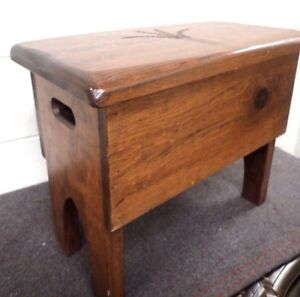 Vintage Pine Bench Step Stool Inside Storage Country Wheat Sheaf Carving On Top