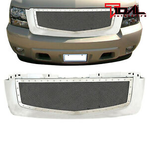 2007 2014 Chevy Tahoe Suburban Grille Rivet Wire Mesh Grille W Chrome Shell