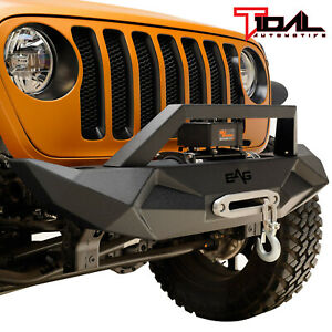 18 19 Jeep Wrangler Jl Front Bumper Off Road Black Textured With Winch Plate