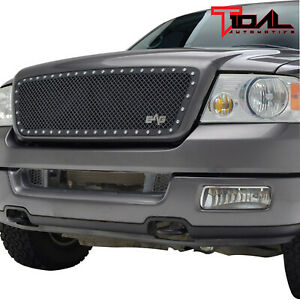 Tidal For 2004 2008 Ford F150 Black Stainless Steel Mesh rivet Grill Insert