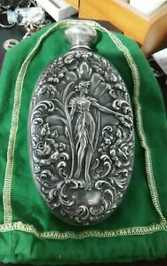 Floral Lady Art Nouveau Sterling Silver Liquor Flask Unger Bros