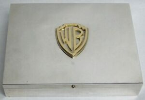 Warner Brothers 18k Solid Gold Wb Monogram On Sterling Silver Humidor Cigar Box