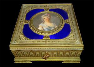 Antique Jewelry Box French Gold Bronze Enamel Hand Painted Portrait