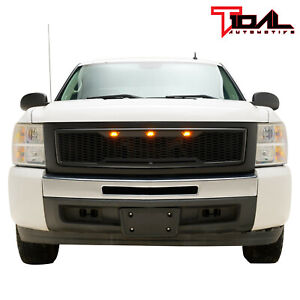 Raptor Style Upper Replacement Grille Led Grill For 07 13 Chevy Silverado 1500