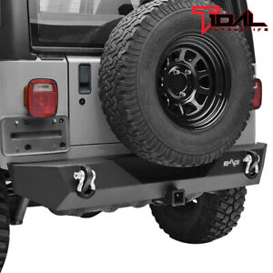 Tidal Rear Bumper W Hitch Receiver D Ring Textured For 87 06 Jeep Wrangler Tj Yj