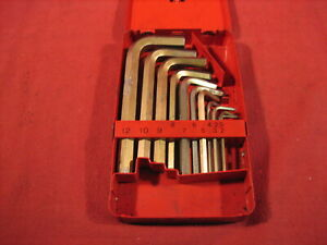 Vintage Snap On 11 Piece Metric Hex Key Set Allen Wrenches