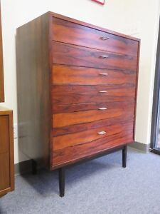 Mid Century Modern 6 Drawer Rosewood Highboy Tallboy Chest Of Drawers Dresser