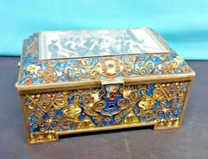 Antique Russian Silver Gilt Enamel Marked Faberge Box