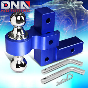 For 2 Receiver Aluminum 6 Drop Adjustable Tow Towing Hitch Blue W dual Ball