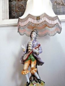 Large Antique Italian Porcelain Male Figure Capodimonte Napoleon Lamp