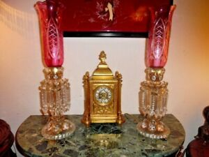Antique French Mantel Clock And Two French Chandeliers