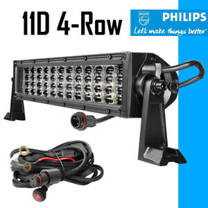 12 20 30 Quad Row Led Work Light Bar Spot Flood Driving Offroad 54inch Curved