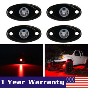 4pcs 2 9w Cree Red Led Rock Light Rig Trail Light For Jeep Off Road Truck Atv